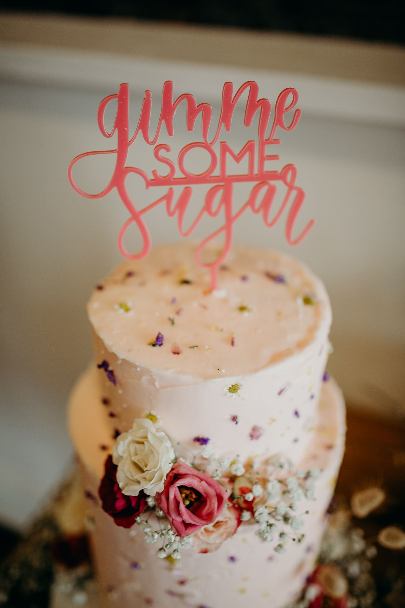 Photo:   Deltoro Photo  |  Cake:   Sugar Bee Cafe  |  Cake Topper:   Dear Heart Signs