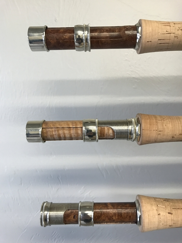 Reel Seat Wood & Hardware - You will choose from up-lock, down-lock or slide band hardware for your rod. If you need advice, we're happy to talk through the pros and cons of each design. In addition we turn all of our reel seats from burl wood and then hand rub them with six coats of gunstock oil.We will send you pictures of our wood choices including birdseye maple, tiger maple, box elder, black ash, amboyna, thuya burl, Koa and many more. You will select the specific reel seat that we will put on your rod.