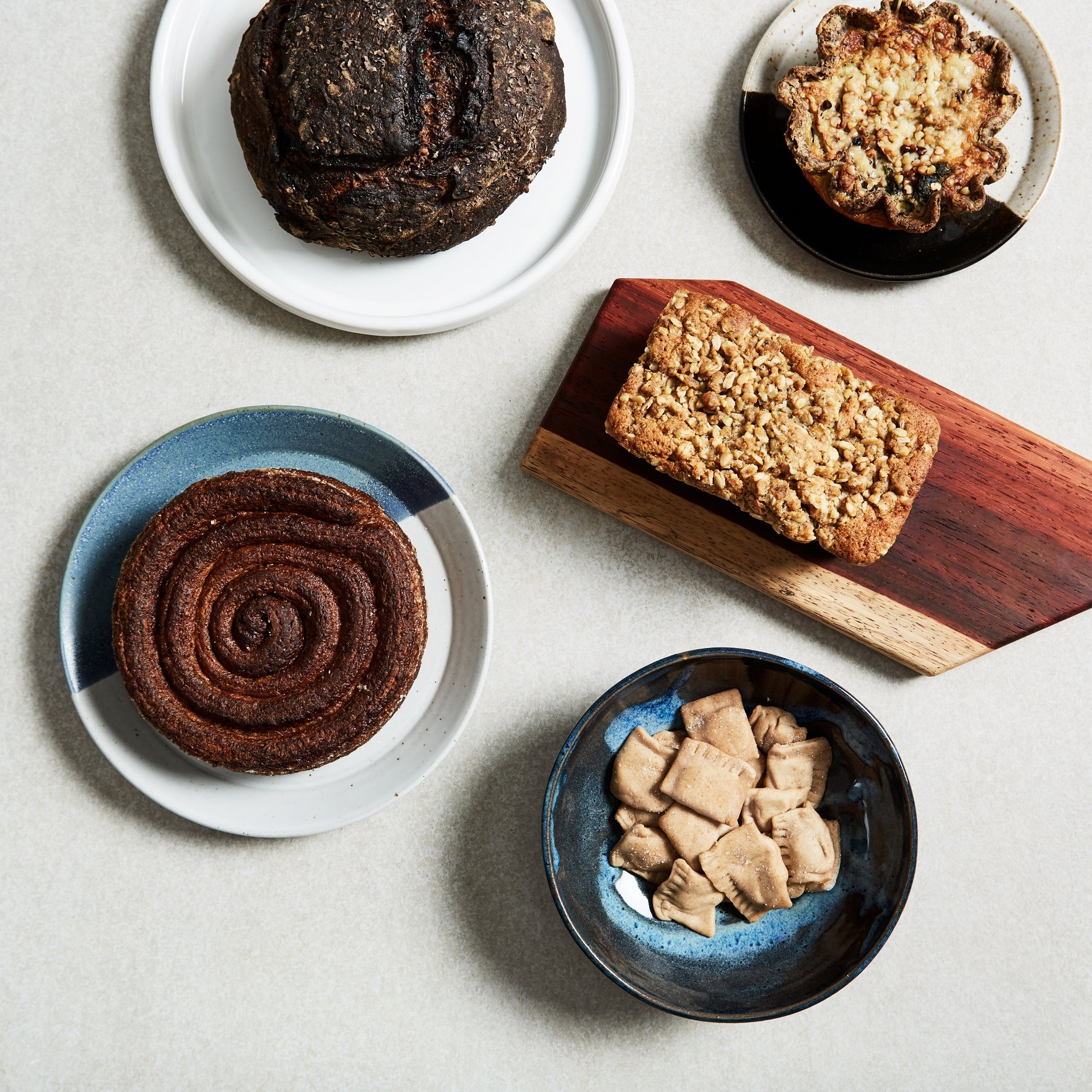 Bakery Fresh  Fresh loaves, pastries & snacks to eat right now.  Examples above: Buckwheat cherry bread, kouign amann, mushroom Swiss chard tart, buckwheat cake