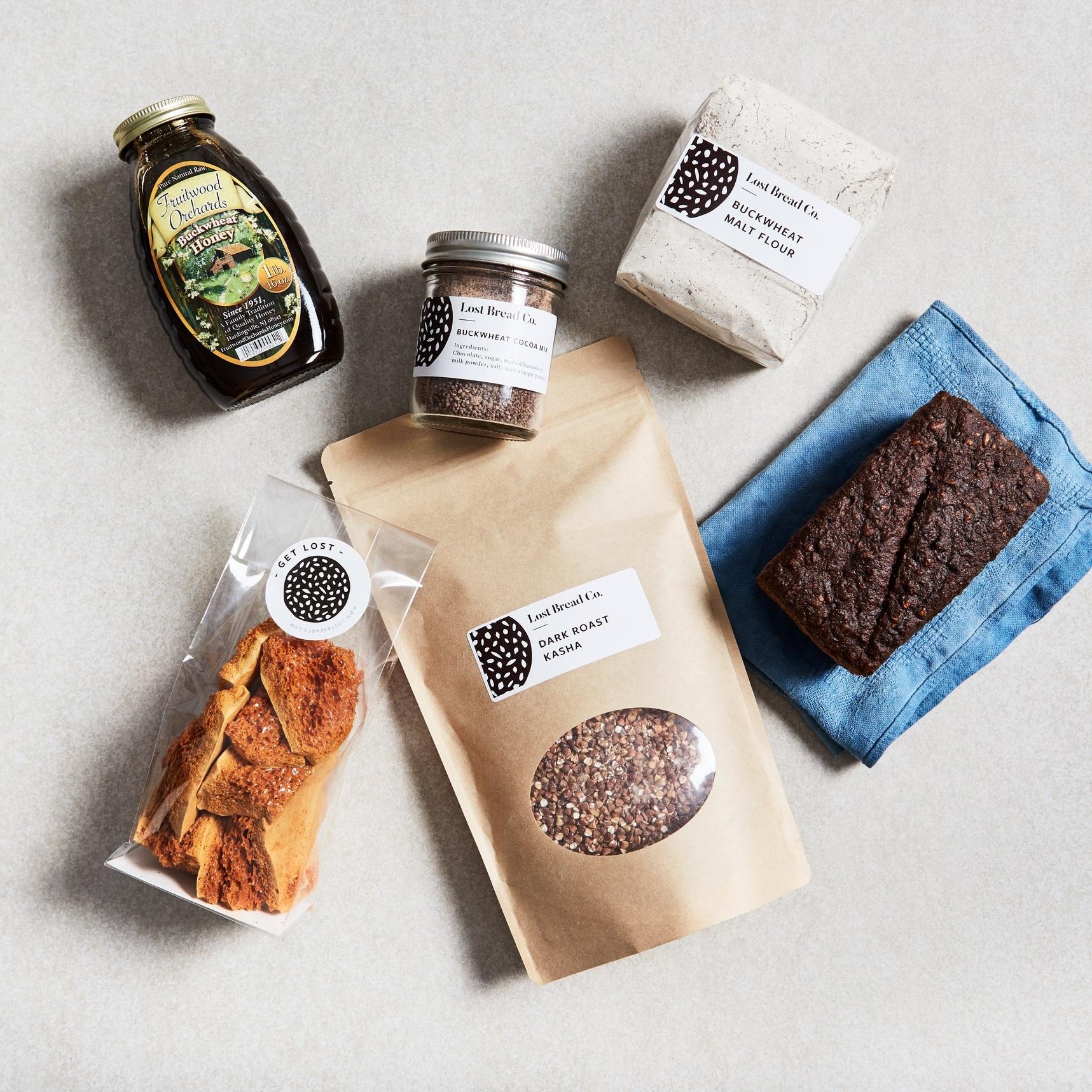 Pantry Goods  Whole grains, fresh flour, pastas & creations that'll keep.  Examples above: Dark roast kasha, buckwheat hot chocolate mix, olive cacao buckornbrot, buckwheat honey