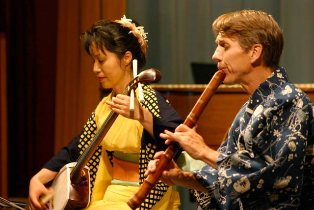 Sound and Silence: Blind Masters and Monks -  Japanese traditional music performed by Yoko Hiraoka (koto, shamisen) and David Wheeler (Shakuhachi flute). These two senior performers play the beautiful music of old Japan and introduce the audience to the Buddhist view of transience in the Japanese performing arts.