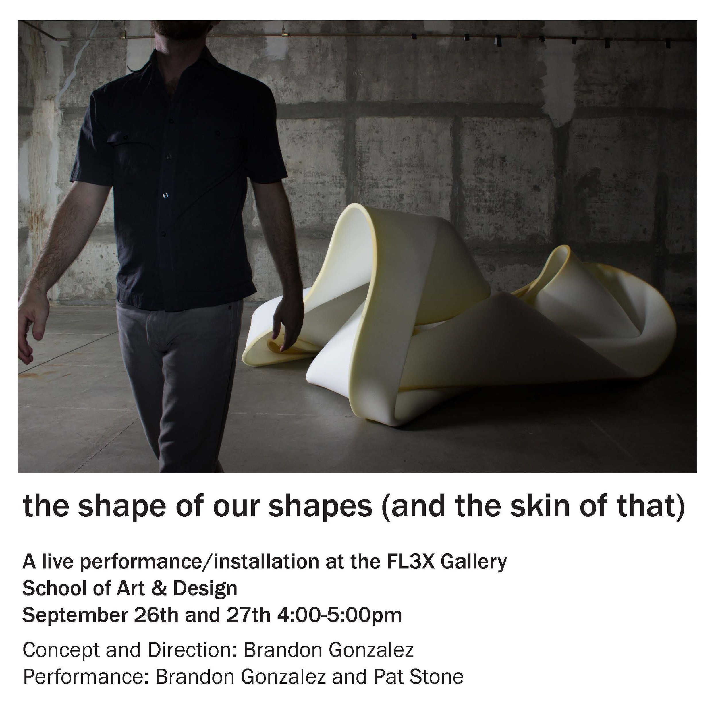 The Shape of Our Lives (And the Skin of That) (Brandon Gonzalez), FLEX space exhibition and performances, On view September 26–September 27