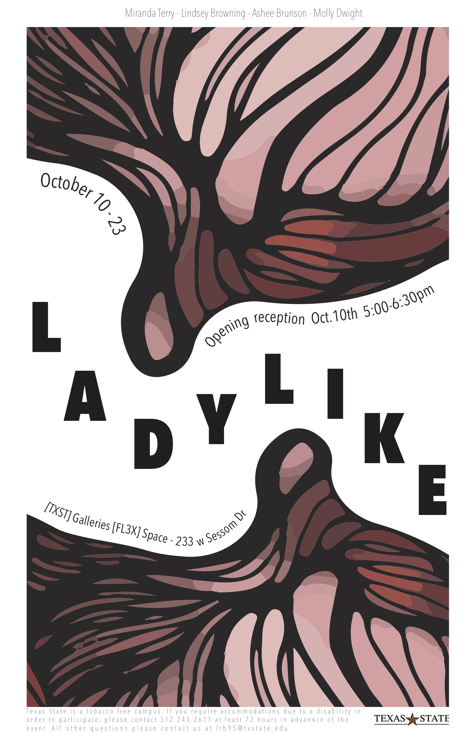 Ladylike (Curated by Miranda Terry and Lindsey Browning), FLEX space exhibition, On view October 10–October 23, 2018
