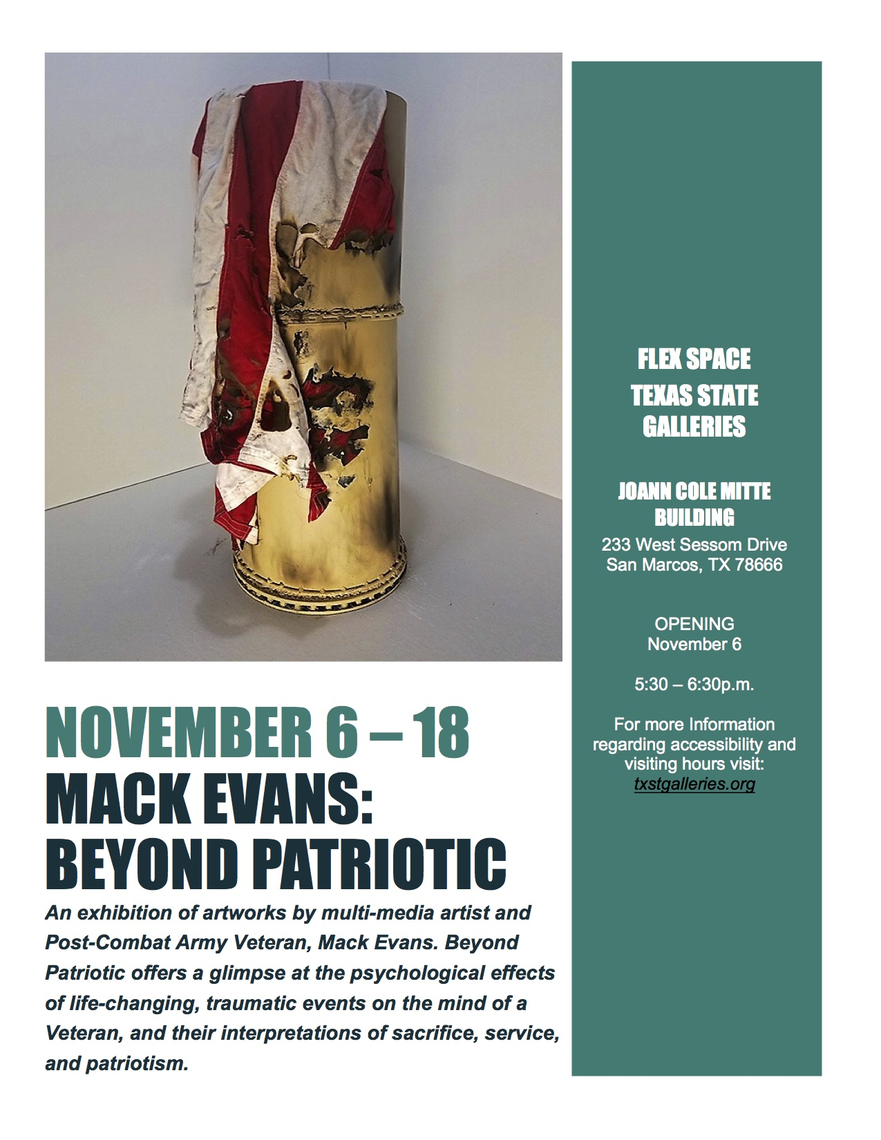 Mack Evans: Beyond Patriotic, FLEX space exhibition, On view November 6–November 18, 2018