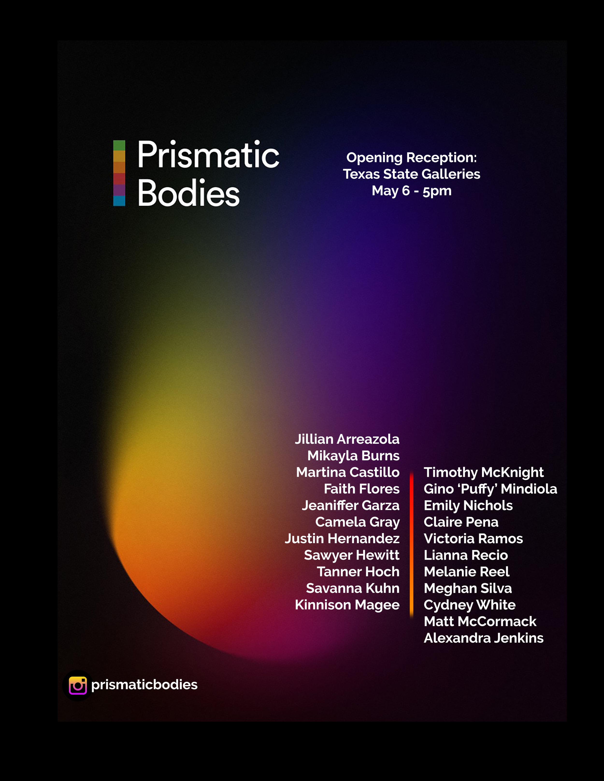 Prismatic Bodies (BFA Thesis Exhibition), FLEX space exhibition, On view May 6–May 10, 2019