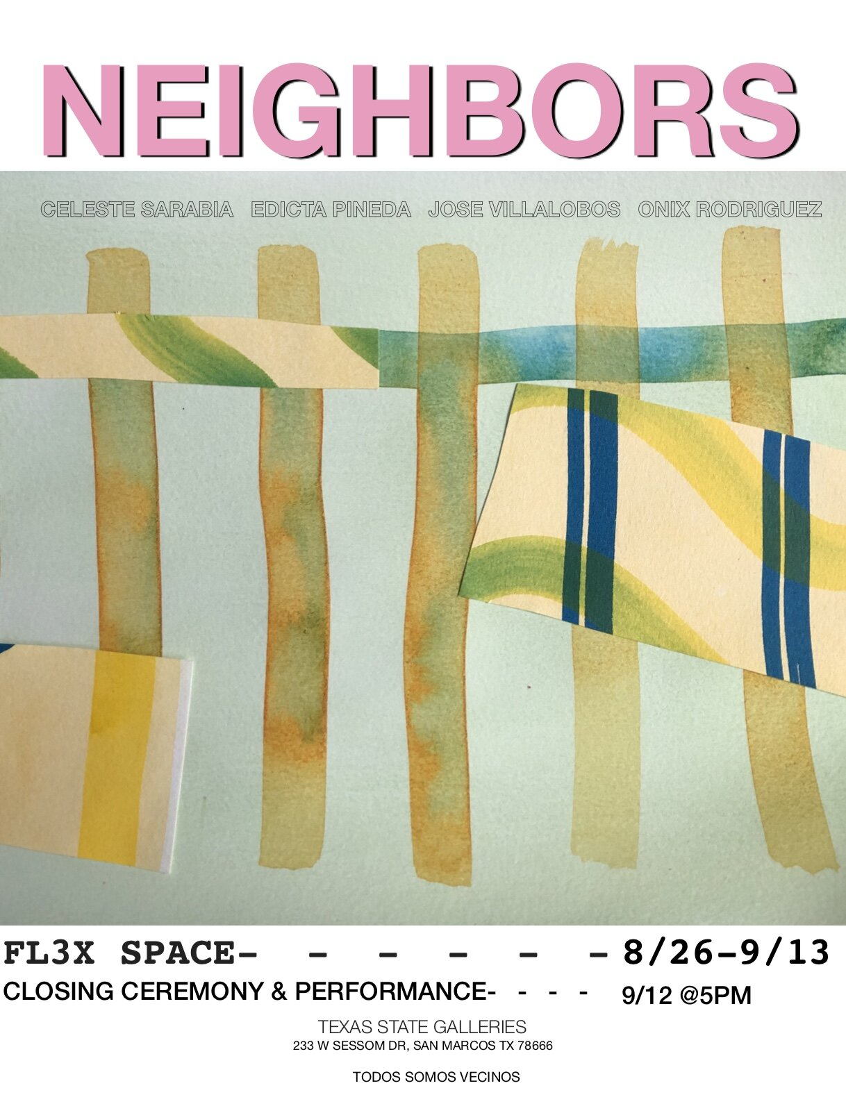 Neighbors, FLEX space exhibition. On view August 26–September 13, 2019. Closing event and performance September 12 at 5 p.m.