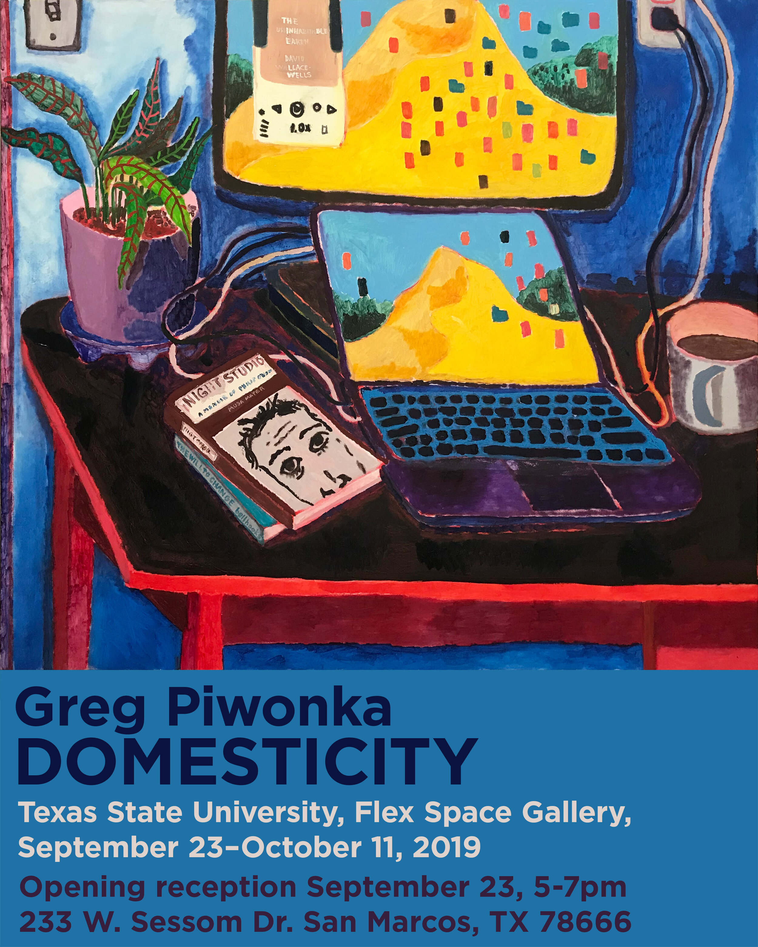 Domesticity (Greg Piwonka), FLEX space exhibition. On view September 23–October 11, 2019. Opening reception September 23 at 5–7 p.m.
