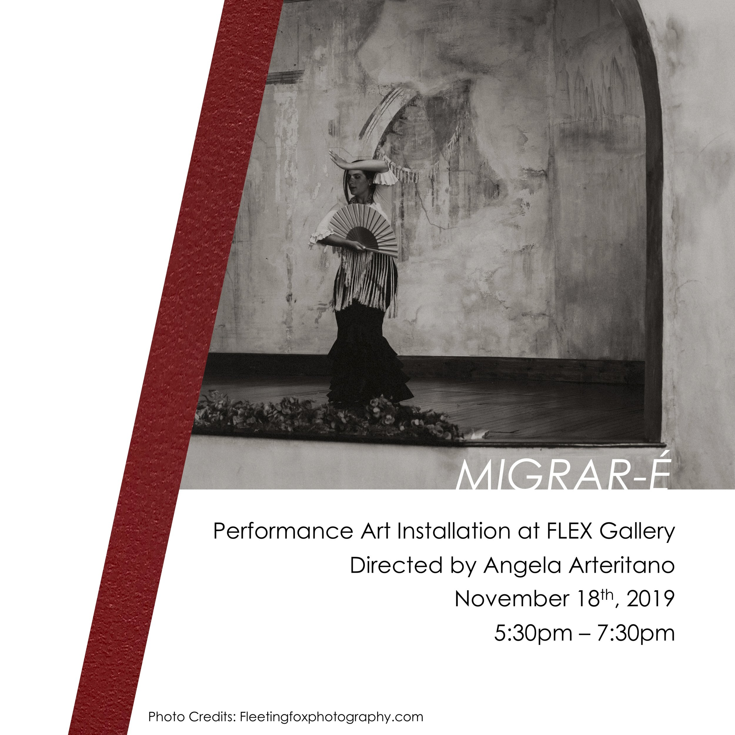 Angela Arteritano's Migrar-é, FLEX space performance event: November 18, 2019, 5:30–7:30 p.m.