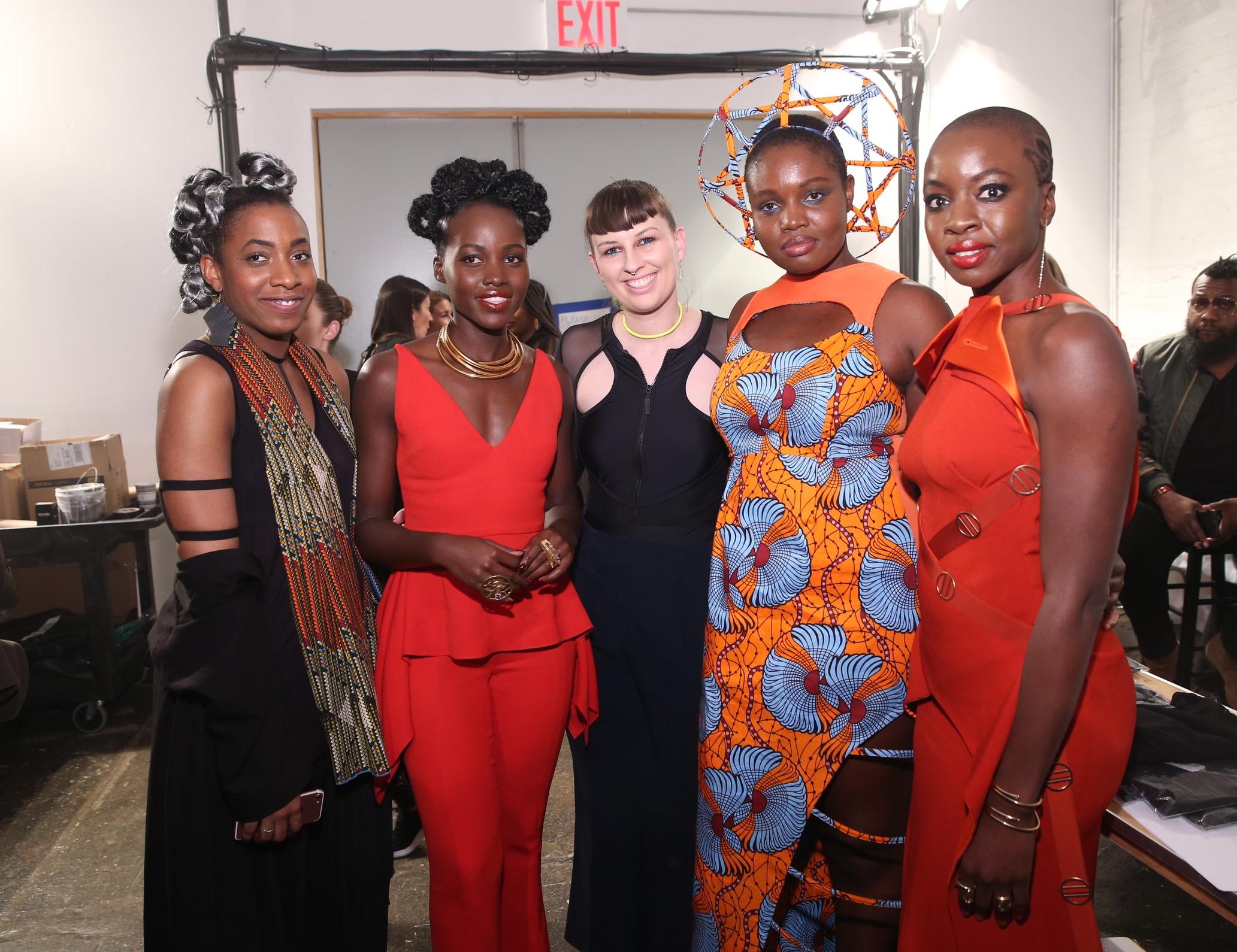 Pictured: Tolu Aremu, Lupita Nyong'o, Becca McCharen-Tran, Tash Ncube, and Danai Gurira.