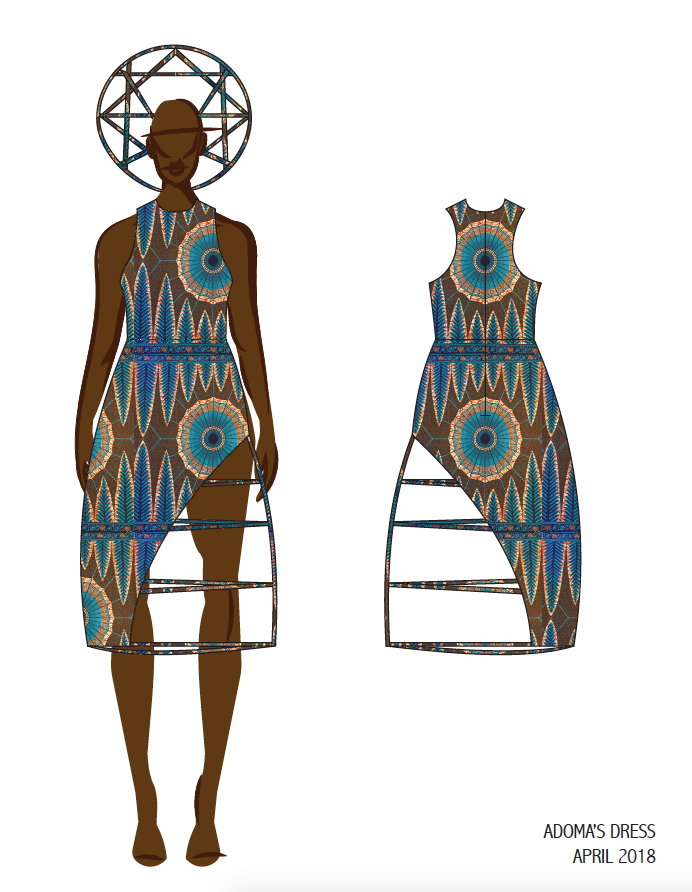 CAD Sketch with Ankara Print and Headpiece