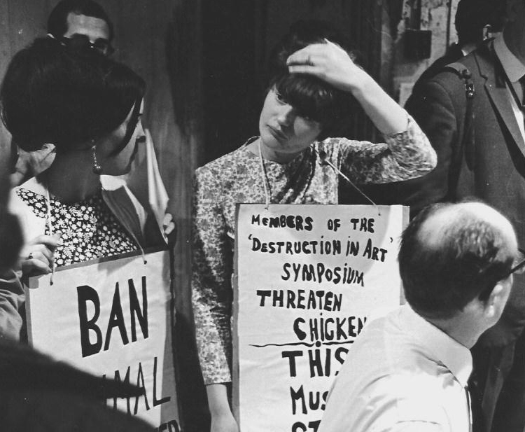 Protesters outside the entrance to the Destruction In Art Seminar in London, in September, 1966