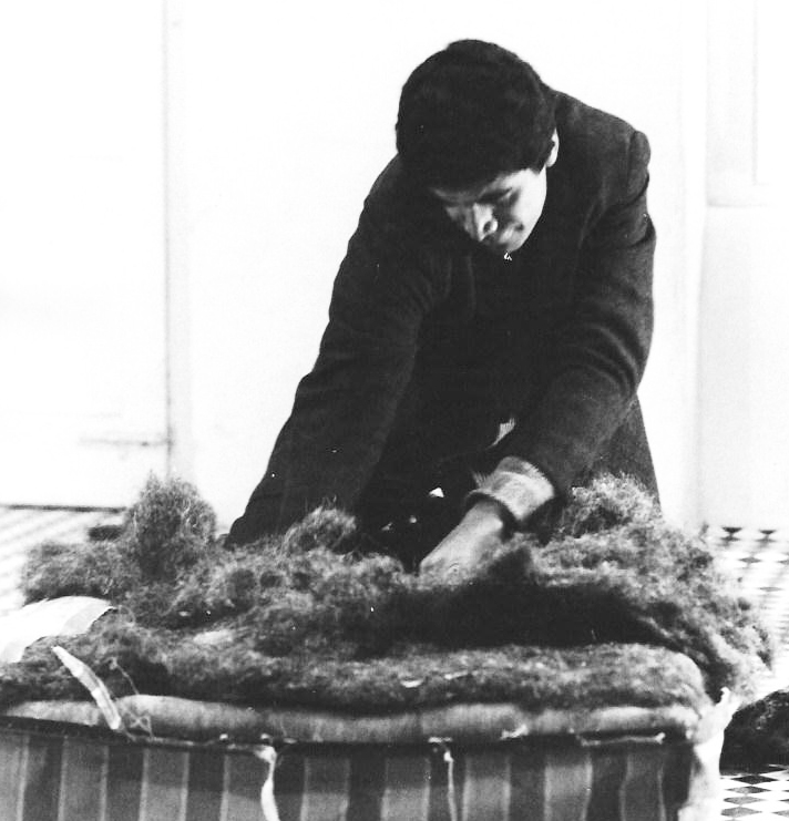 Performance artist Ralph Ortiz destroys a mattress at the Destruction In Art Symposium in London, 1966