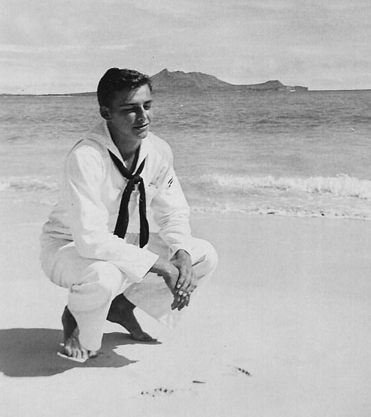 "And here's Kurt on the beach in Hawaii wearing his ""whites."""