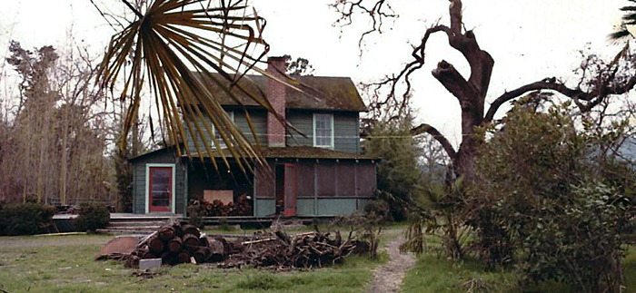 This photo looks to be from around 1977; the bamboo grove to the left of the house has lost its leaves and gone to seed as part of its   120-year life-cycle  . The 700-year-old oak in the front driveway also suffered visible damage. Two years later,   the house would catch fire   and be condemned.