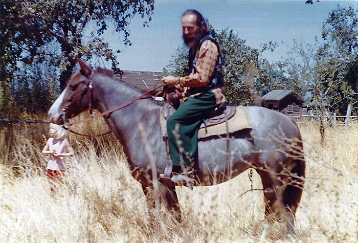 Here's Kurt riding Misty Moonlight in the pasture and grassland at the fringe of the ranch. The Napa River was close by and accessible by foot or by horse.