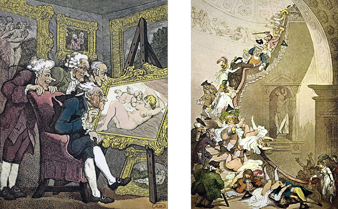 Left:  CONNOISSEURS  - The lascivious expressions on the faces of the four gentlemen are fine examples of Rowlandson's ability to depict a common theme with a wide range of amusing variation. His own exhibi­tions at the Royal Academy must have supplied him with ample raw material for such studies as this. A touch of humor is also present in the apparent attempt of the figures in the painting be­hind the four gentlemen to look over their shoulders, while the maiden—with a delicate twist—in so doing bares her own charms.  Right:  EXHIBITION STARE CASE  - One of the finest of Rowlandson's compositions, the original is unusually large—about double his usual scale. Here it is not only the people who are being satirized, but also the architecture. The scene is Somerset House, designed by the Swedish architect, Sir William Chambers. He had visited China early in his career, and this was thought to have contributed to a certain flamboyance to his work. Combined with elements of English xenophobia, it was a pet pastime for Rowlandson's contemporaries to mock Cham­bers, especially in his layout of the Royal Gardens at Kew and in Somerset House, used for exhibitions by the Royal Academy. The people who attended such events are themselves here subjects for Rowlandson's sharp pen—although, as a point of historical infor­mation, the stairs in Chambers' design were thought too steep.