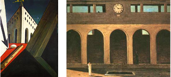 "Left: Chirico's ""Fete Day"" Right: Chirico's ""The Enigma of the Hour"""