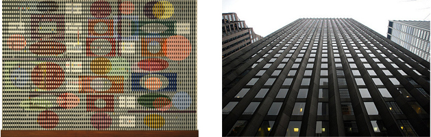 "Left: Agam's ""Double Metamorphosis II"" Right: Sarinen's CBS Building in Manhattan"