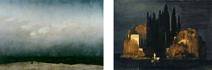 "Left: Freidrich's ""Monk on the Seashore"" Right: Bocklin's ""The Island of the Dead"""