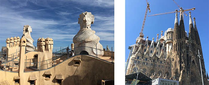 Left: The roof of Gaudi's Casa Mila apartment building in Barcelona Right: Gaudi's Segrada Familia; construction began in 1882 and is slated for completion in 2026