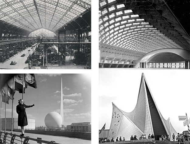 "Clockwise from upper left: Dutert and Contamines' ""Halle des Machines""; Nervi's ""Exhibition Building""; Le Corbusier's ""Phillip's Pavilion""; Harrison and Fouilhoux's ""Trylon and Parisphere"""