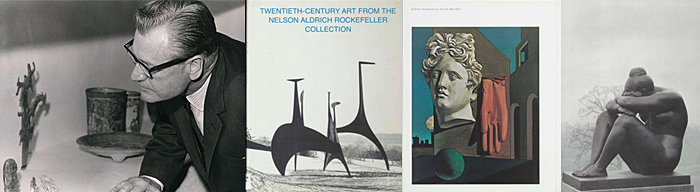 Nelson Rockefeller and pages from the catalog of his artwork exhibition.