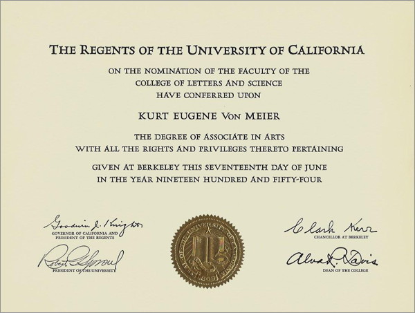 After two years in the Navy, Kurt returned to UC Berkeley, and received his degree.