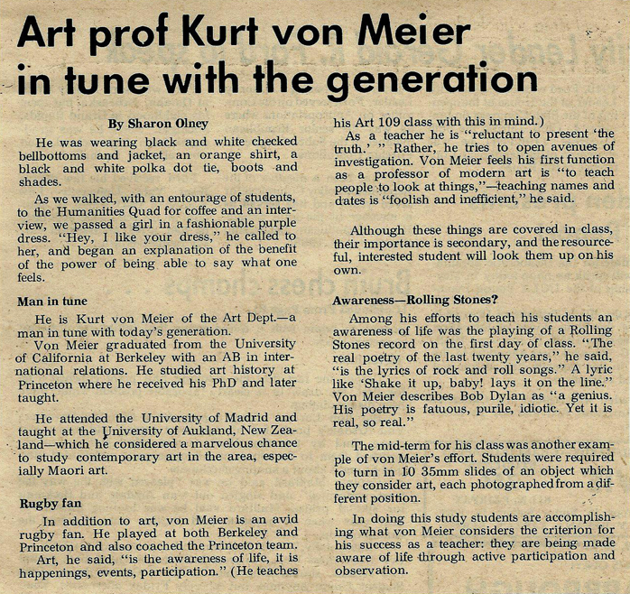 The article above appeared in the UCLA  Daily Bruin;  undated it would appear to be from late 1965 or early 1966, but it shows the consistency of Kurt's beliefs about teaching when compared with his a rtscanada  article above.