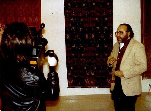 Kurt von Meier being interviewed on camera at the Ikat exhibition for which this essay was written.