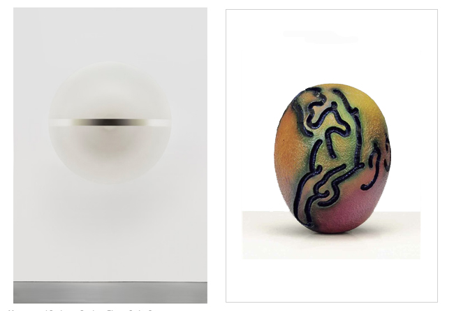 Left: Painted discs by Robert Irwin (1966) - Right: Sculpture by Kenneth Price (1965)