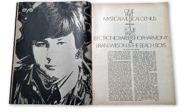 This the opening page spread of Kurt's article about Brian Wilson in August, 1968  Eye  Magazine.