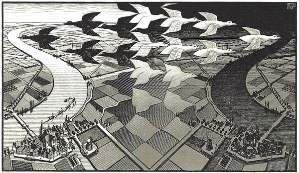 """Artist M.C. Escher described the image above as follows:""""Grey rectangular fields develop upwards into silhouettes of white and black birds; the black ones are flying towards the left and the white ones towards the right, in two opposing formations. To the left of the picture the white birds flow together and merge to form a daylight sky and landscape. To the right the black birds melt together into night. The day and night landscapes are mirror images of each other, united by means of the grey fields out of which once again the birds emerge """""""