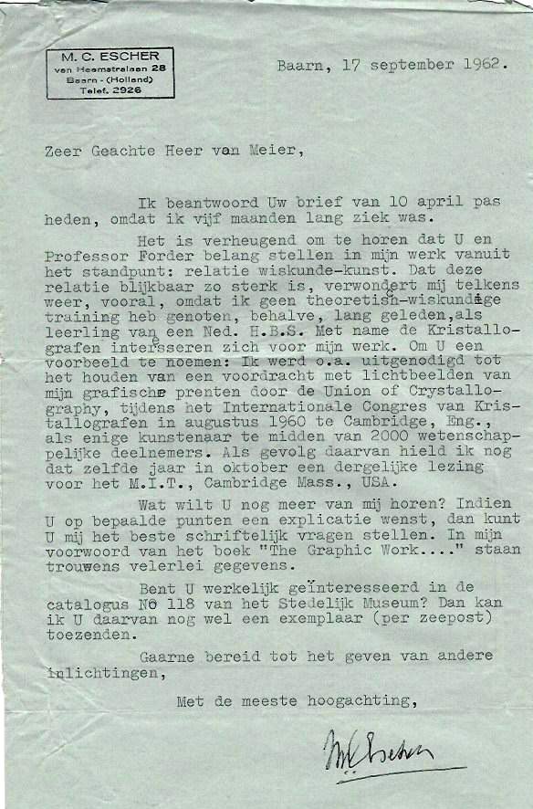 This is the letter Kurt received from Escher in reply to an inquiry.