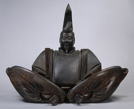 """Portrait of Minamoto-no Yoritomo"" Kamakura Period, 13th Cen., poly-chromed wood."