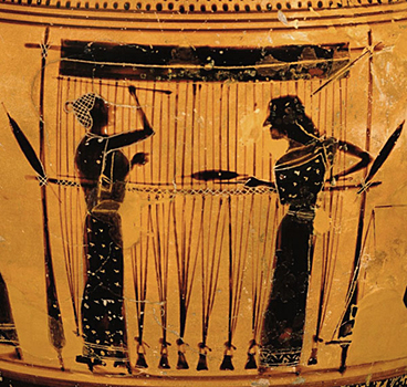 Weaving depicted on an ancient Greek urn.