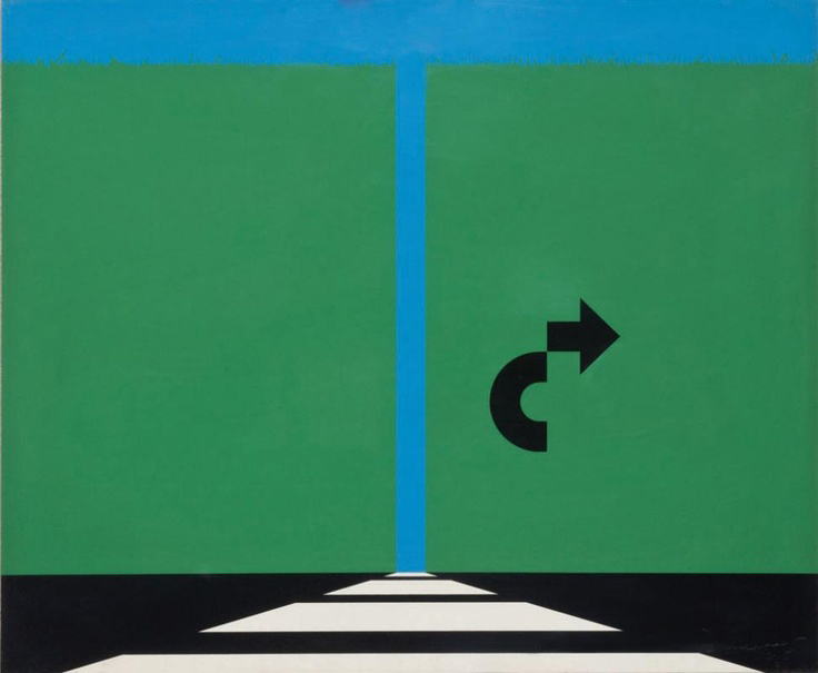 Roads, road signs and median strips were frequent motifs in the paintings of Alan D'Arcangelo.