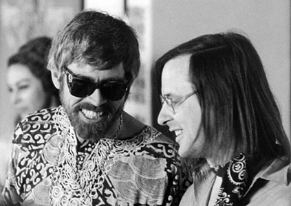 Actor James Coburn (left) and Composer Joseph Byrd in 1968.