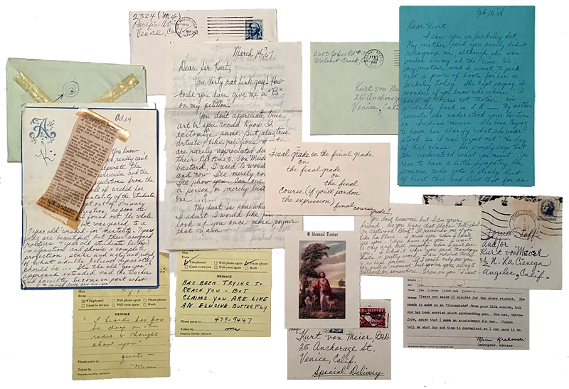 A montage of various letters and items sent by Annette to Kurt, a remaining sample of the many dozens of missives.