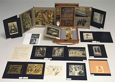 Duchamp's  Boite-en-valise , a collection of miniatures of his works packed in a suitcase.