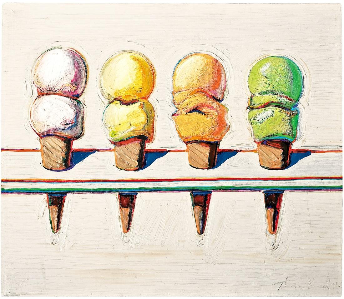 Four Cones  by artist Wayne Thiebaud.