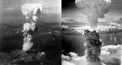 Photos of the two A-Bomb explosions in Hiroshima and Nagasaki Japan at the end of World War II.