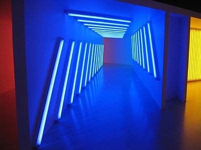 An example of Dan Flavin's sculpture using neon lights