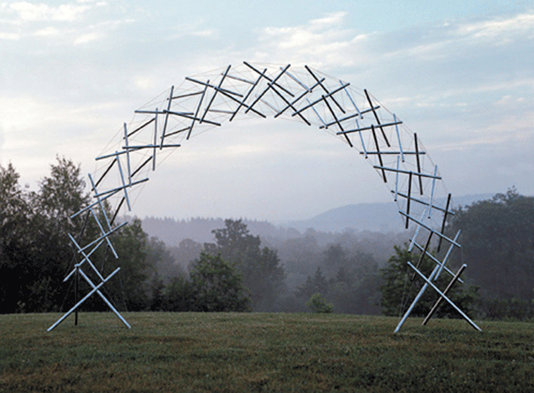 "A sculpture by Kenneth Snelson illustrating Buckminster Fuller's idea of ""Tensegrity"""