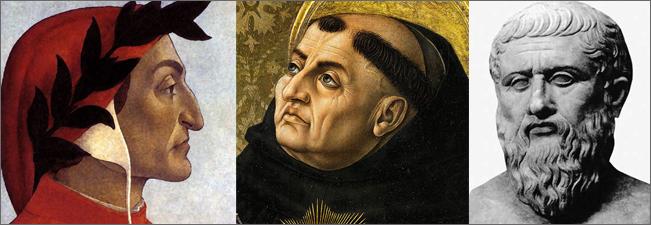 Left to right: Dante, St. Thomas Aquinas, Aristotle