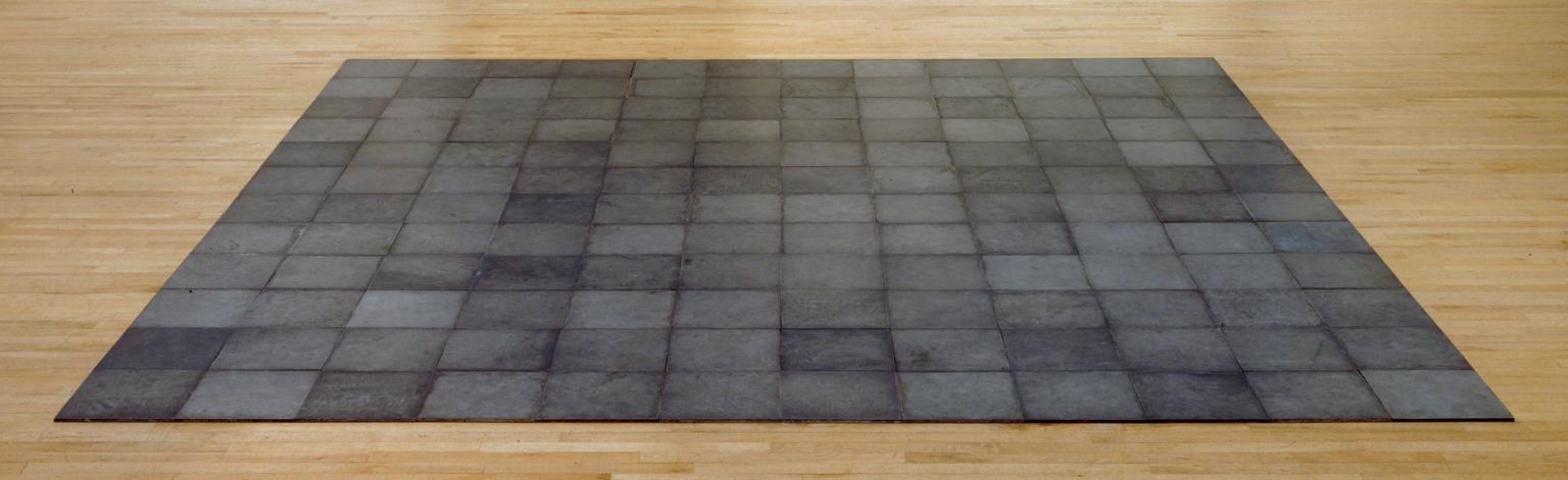 """One of Carl Andre's """"Lock"""" sculptures of interlocking squares"""