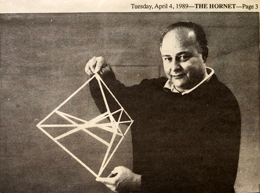 Kurt von Meier in 1989 with his three-dimensional construction of Segre's Figure
