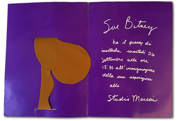 This is the interior of the catalog produced by Studio Marconi to promote Sue Bitney's exhibition.