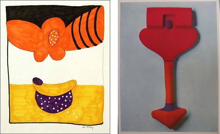 Two works by Sue Bitney circa 1967.