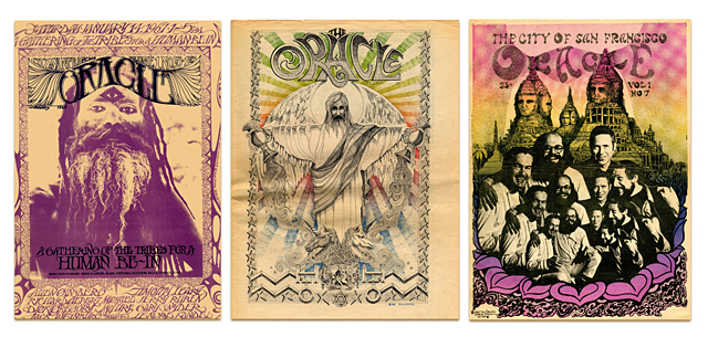 Covers of the short-lived underground newspaper of the 60s, the San Francisco  Oracle , which in 1966 Kurt considered the world's most beautiful newspaper .