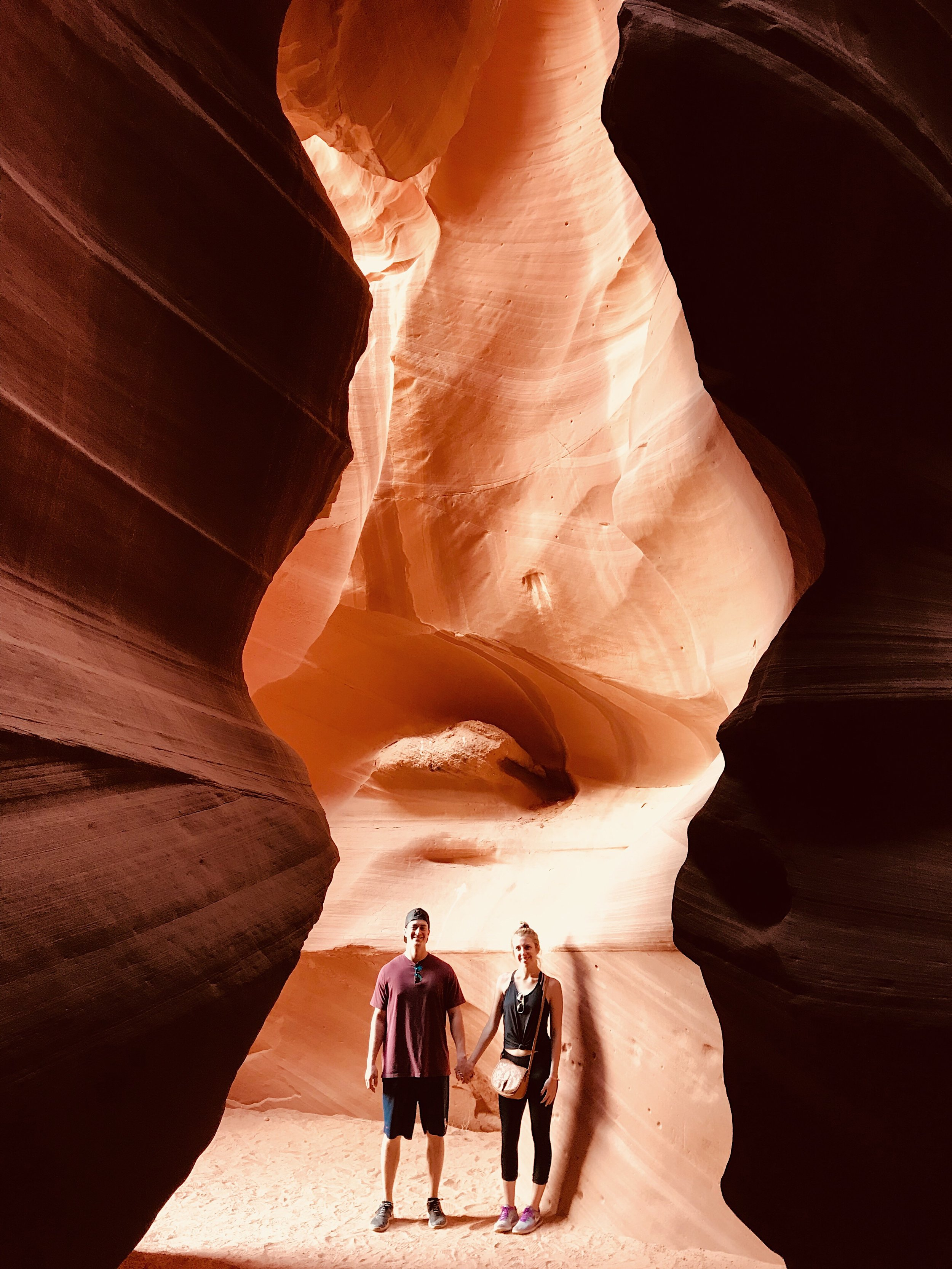 Alec & I in the entrance of Antelope Canyon. Photo cred: Tour Guide Cindy of Anetelope Canyon Tours!